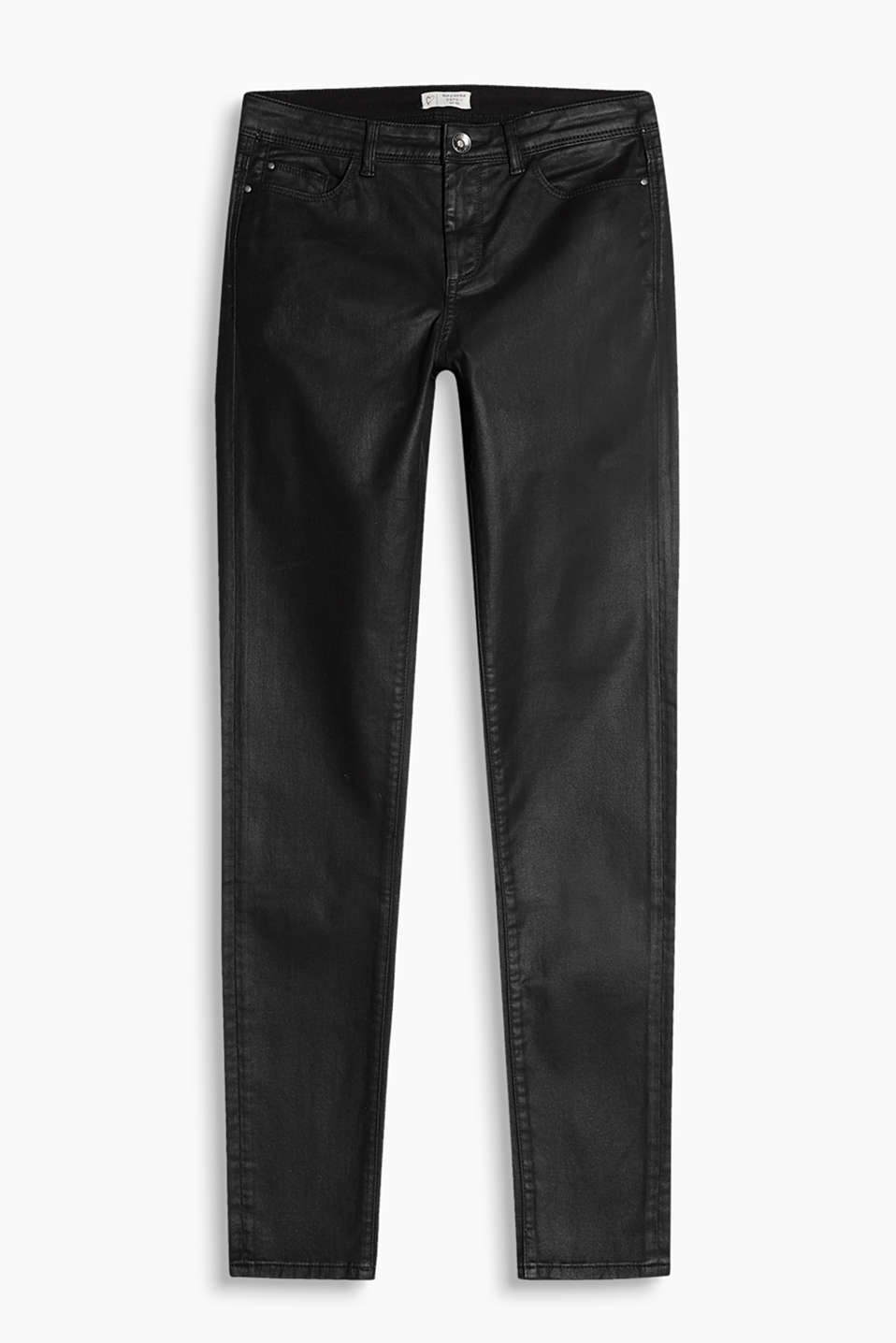 Shine on! Coated five-pocket trousers in cotton with added stretch for comfort