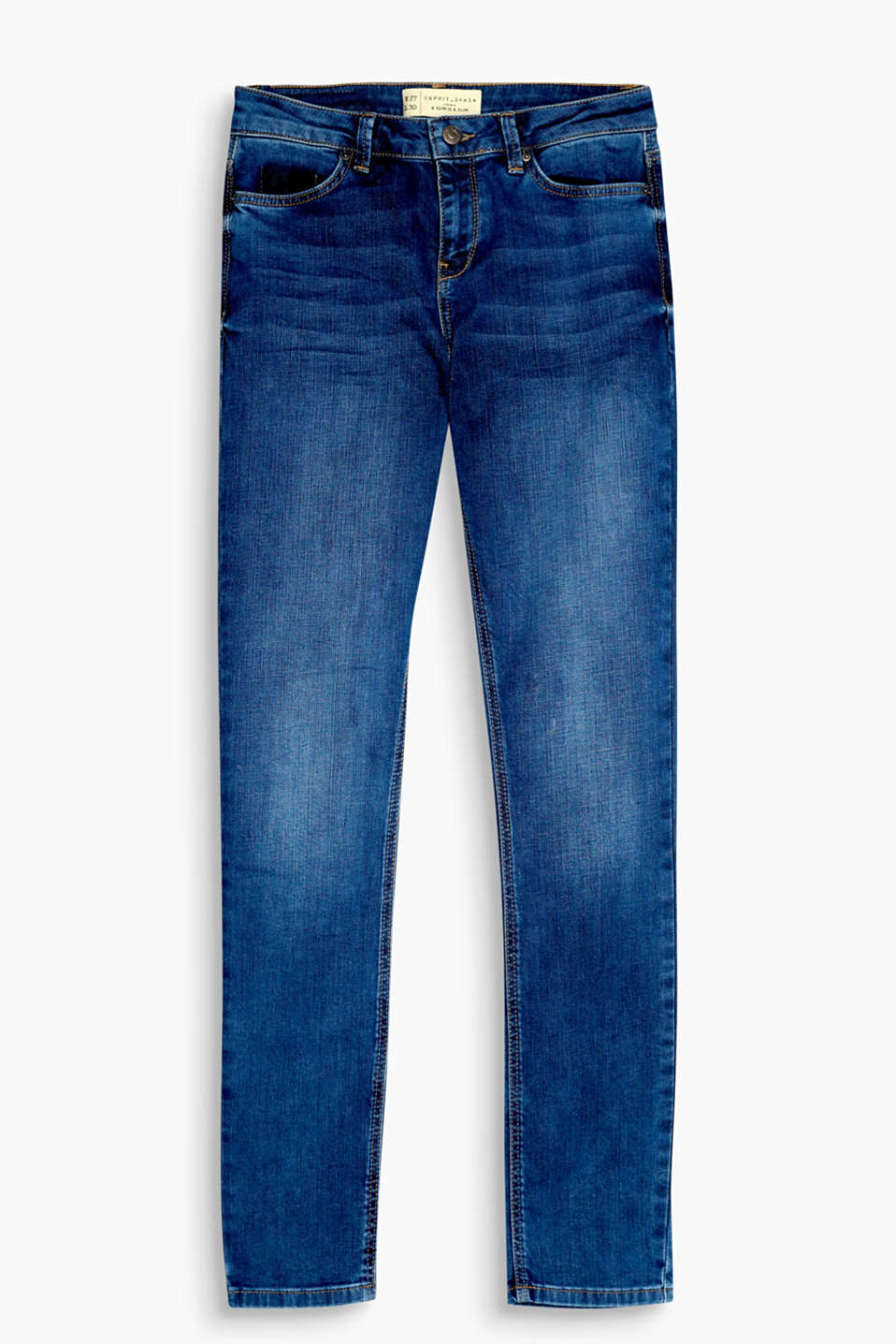 En denim de coton au confort stretch : jean skinny à effets délavés pour un look authentique