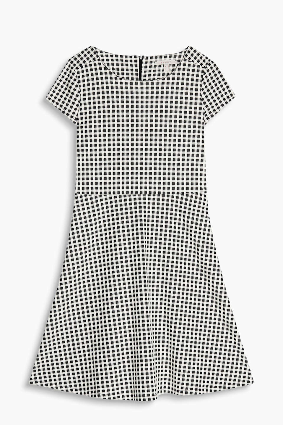 Shift dress made of soft blended cotton with a check pattern in a trendy black and white look