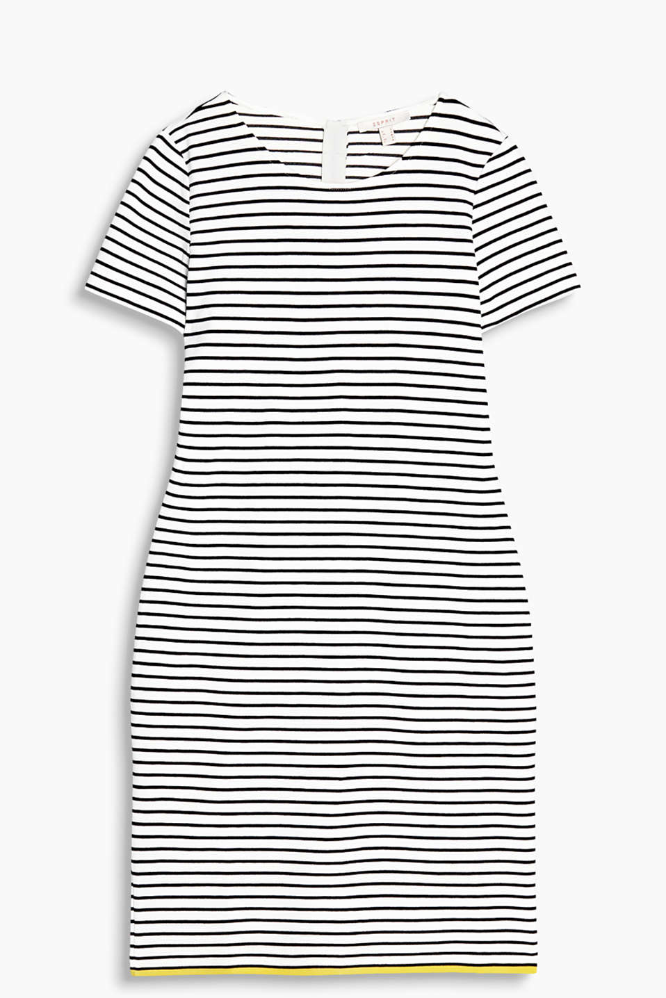 Figure-enhancing stretch jersey dress with sporty all-over stripes