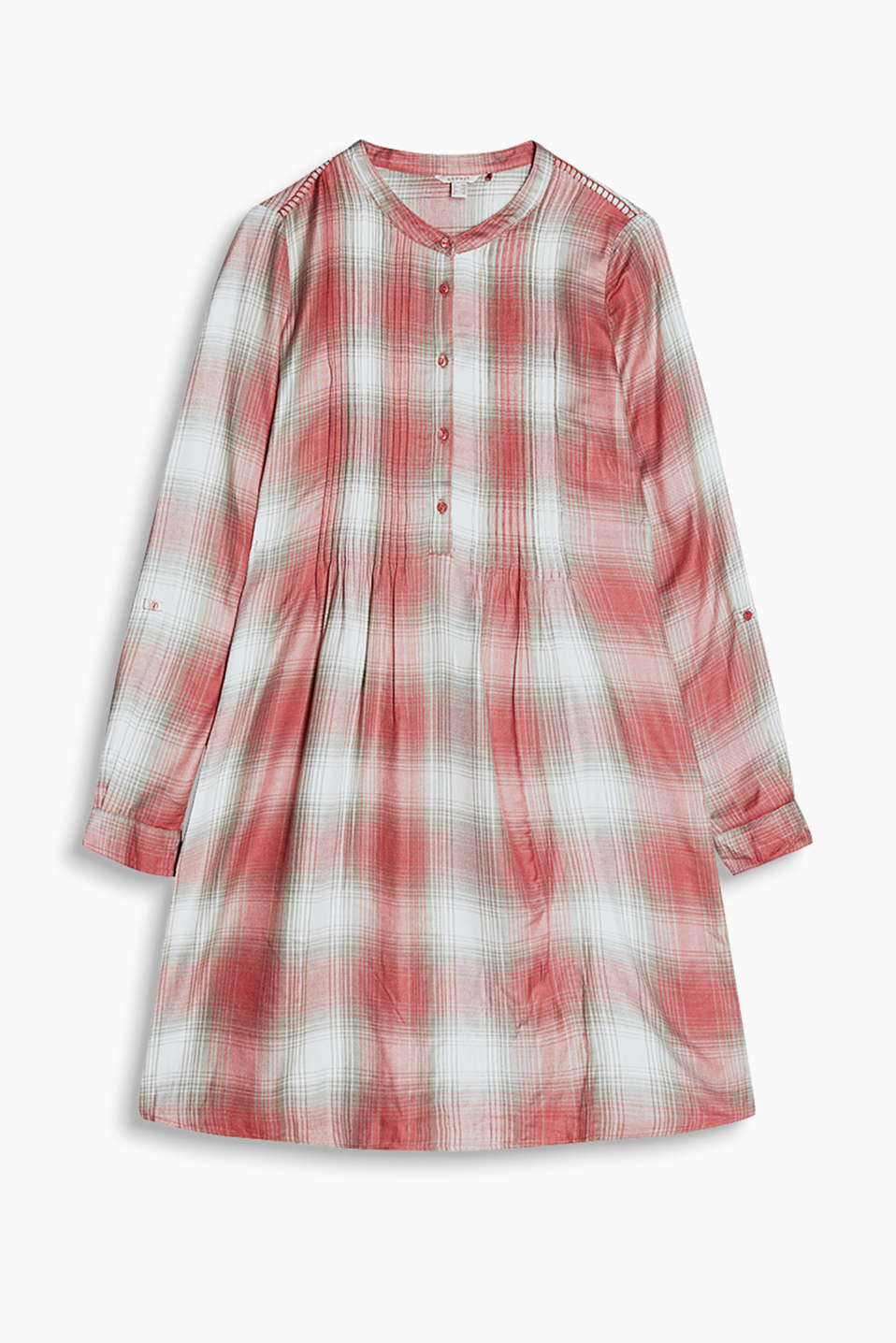 Made of flowing viscose: shirt blouse dress with turn-up sleeves, a stand-up collar and pintucks