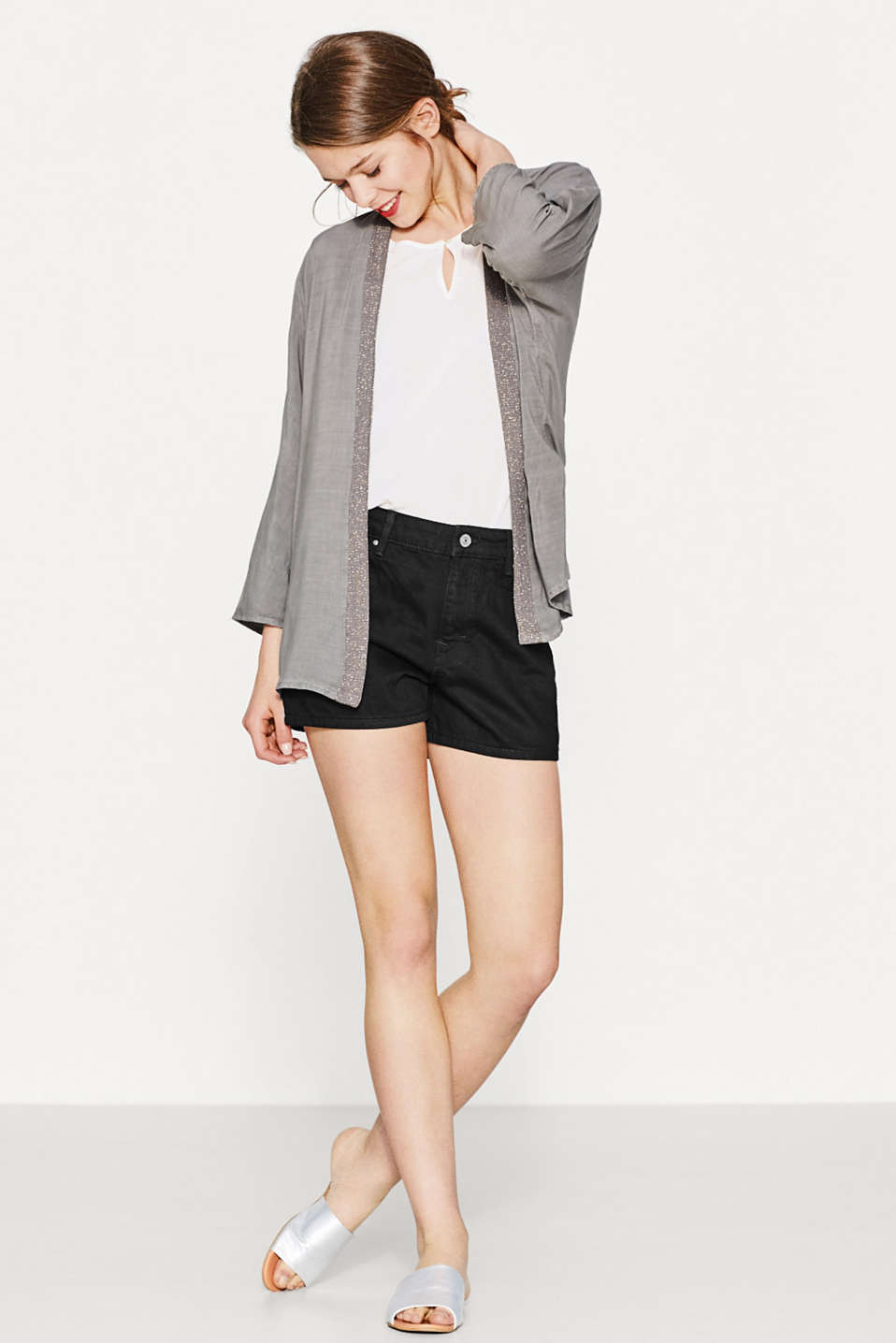 Esprit - Flowing cardigan with sparkling knit edges