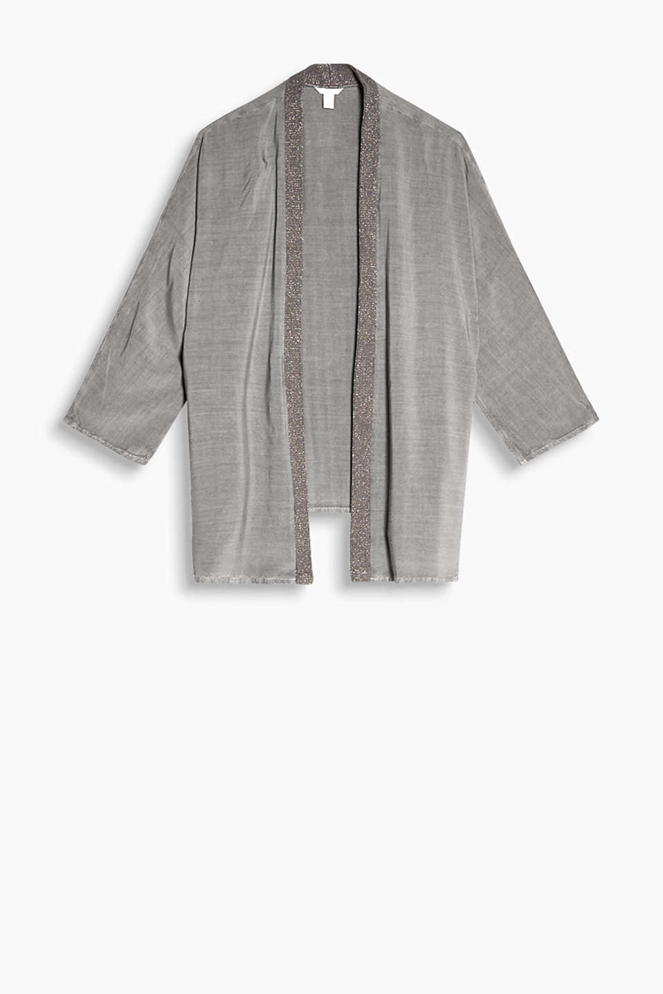 Cardigan in flowing viscose with batwing sleeves