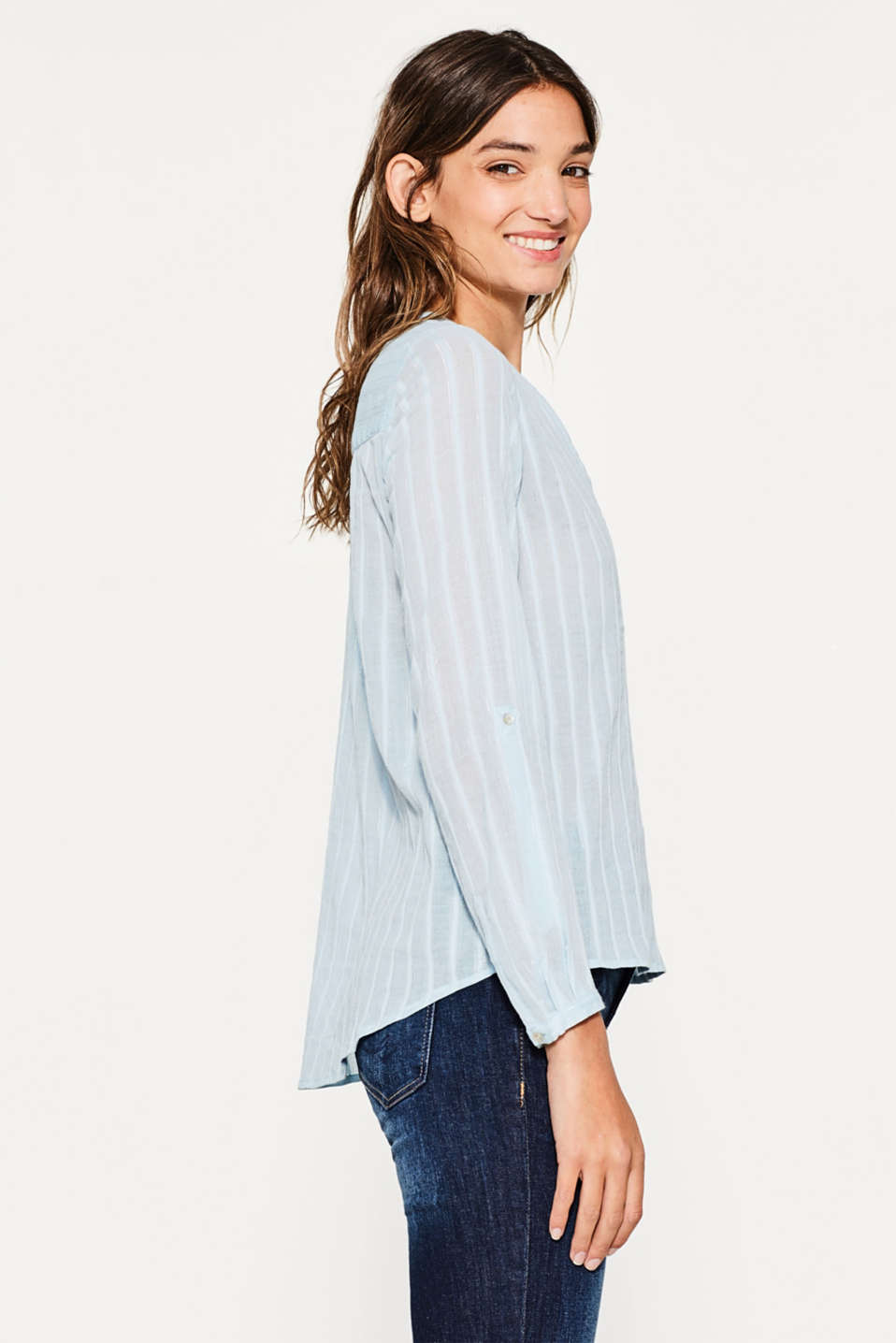 Esprit - Cotton blouse with glittery stripes