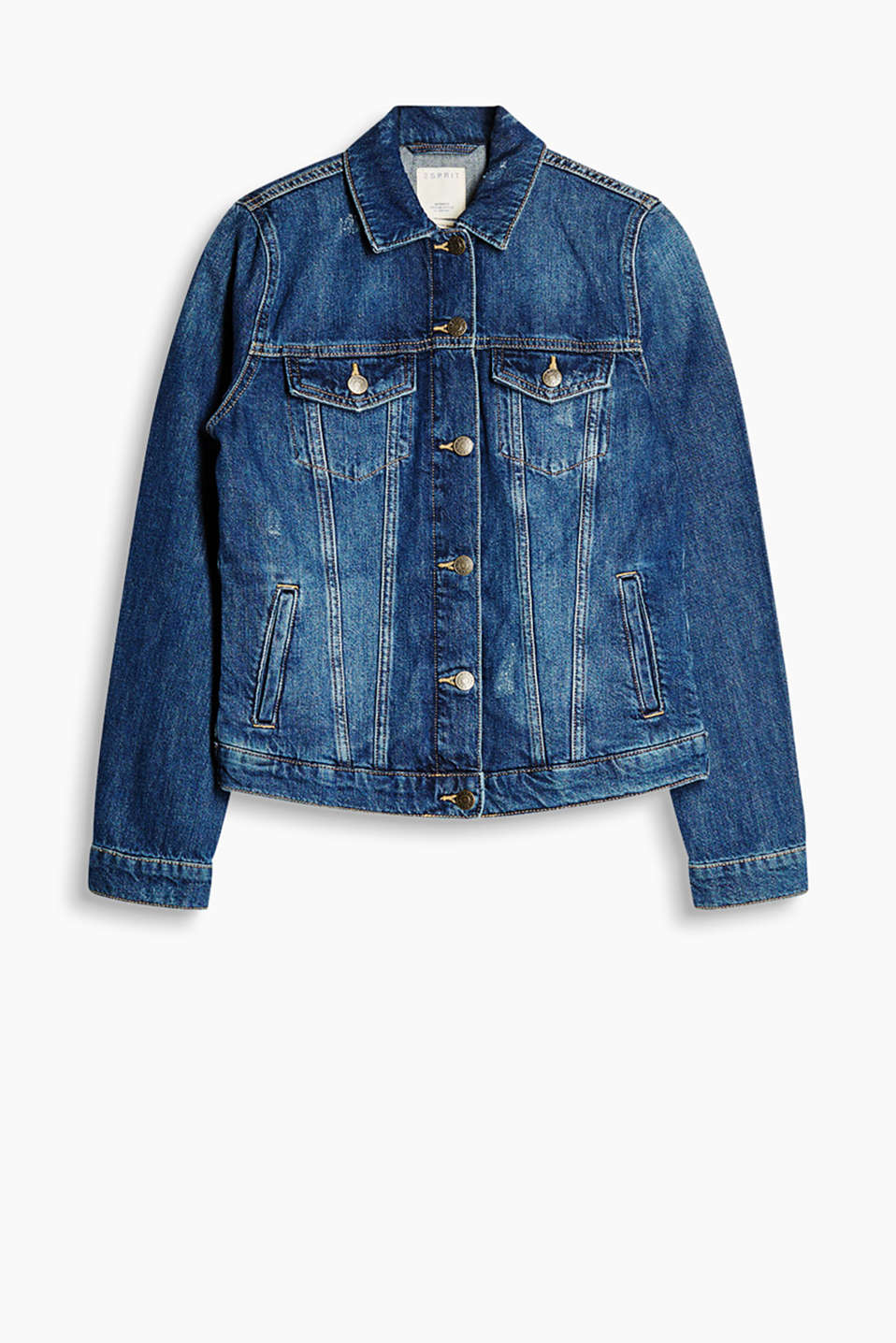 Fitted denim jacket with vintage effects, made of 100% cotton