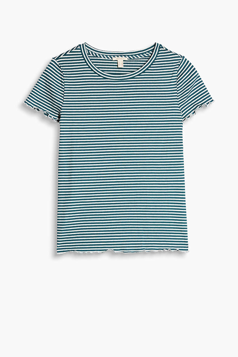 Ribbed T-shirt made of cotton with a percentage of stretch in a striped look