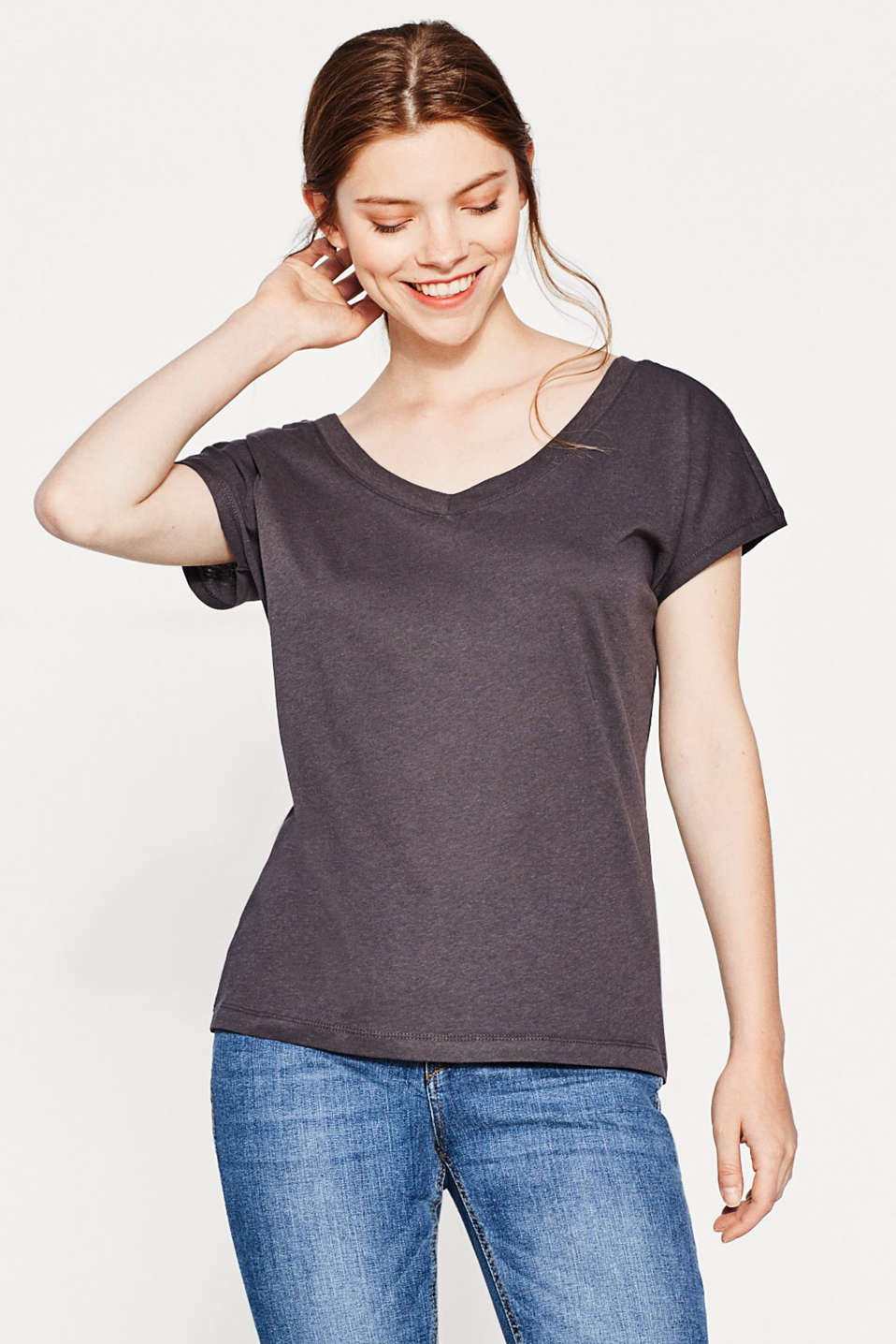 Esprit - Double V-neck-shirt, bomuld-hør-mix