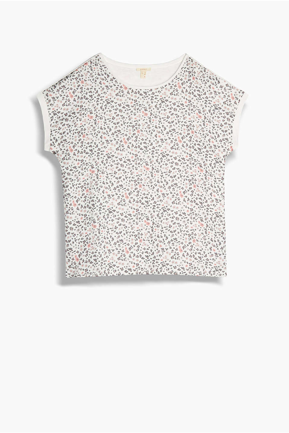 Floral print blouse in a combination of fluid fabrics