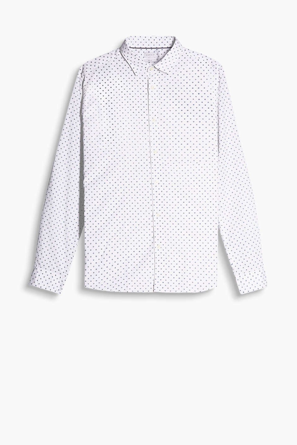 Shirt in soft cotton fabric with a narrow spread collar and turn-up sleeves