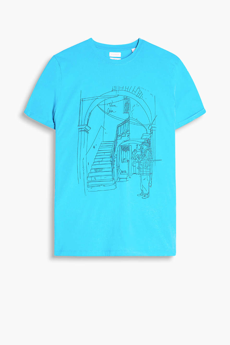 Made of 100% cotton: T-shirt with a sketch print and a round neckline