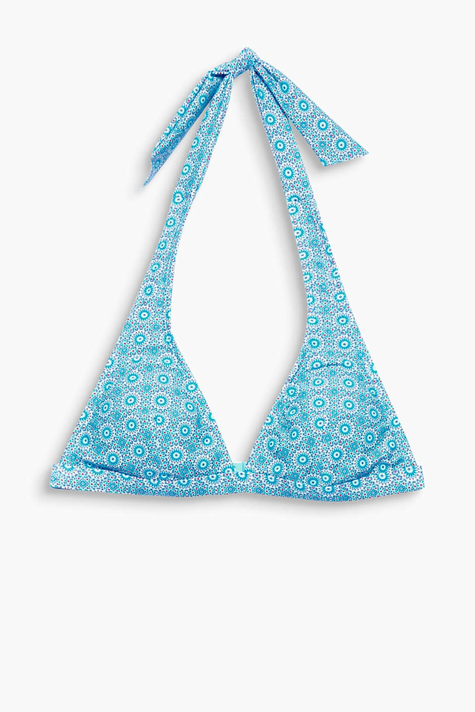 AUGUSTINE collection - a mini print meets folk style on this decoratively patterned, padded halterneck bikini top