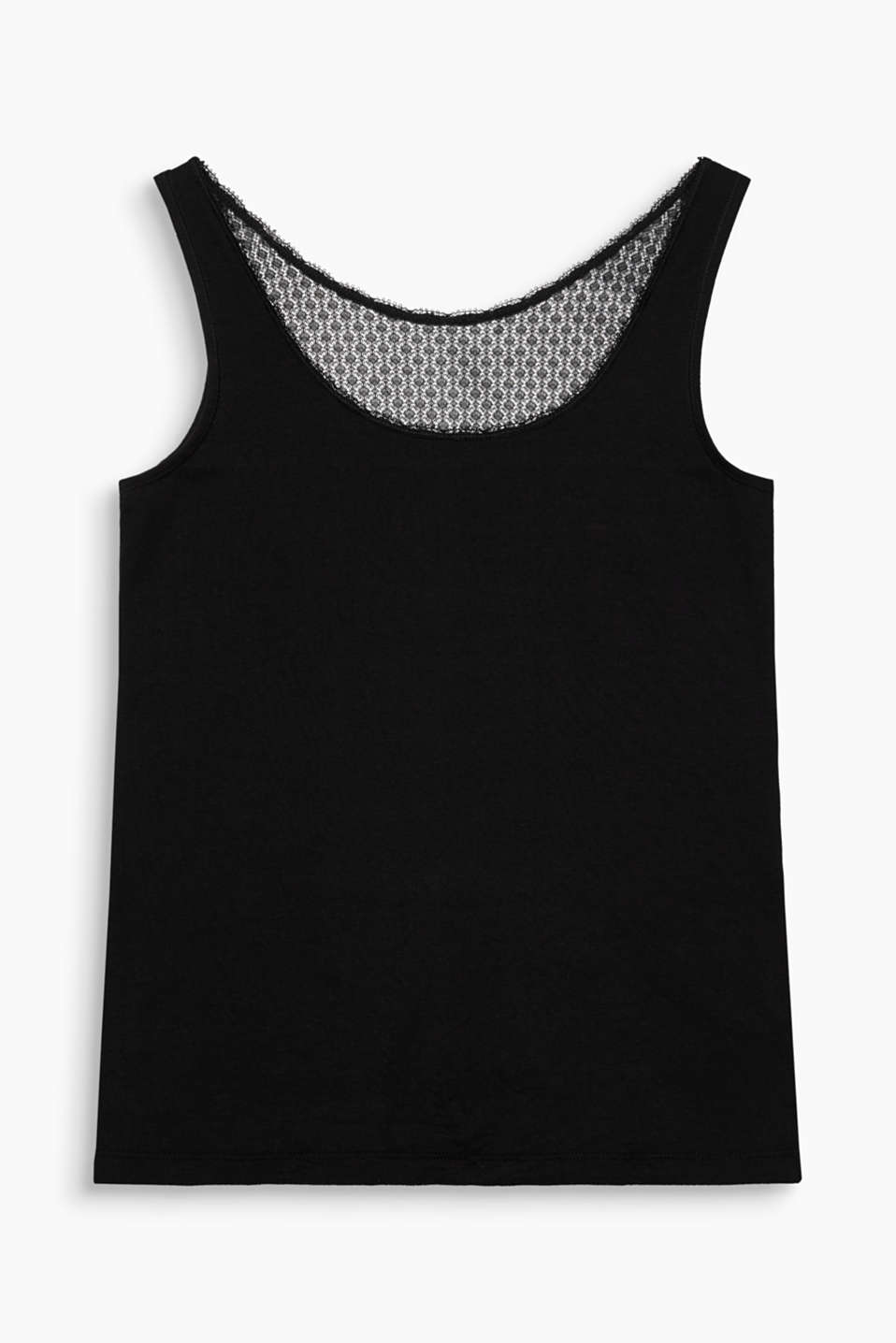 DENTON collection – your feminine basic top – blended cotton vest top with a lace insert at the back