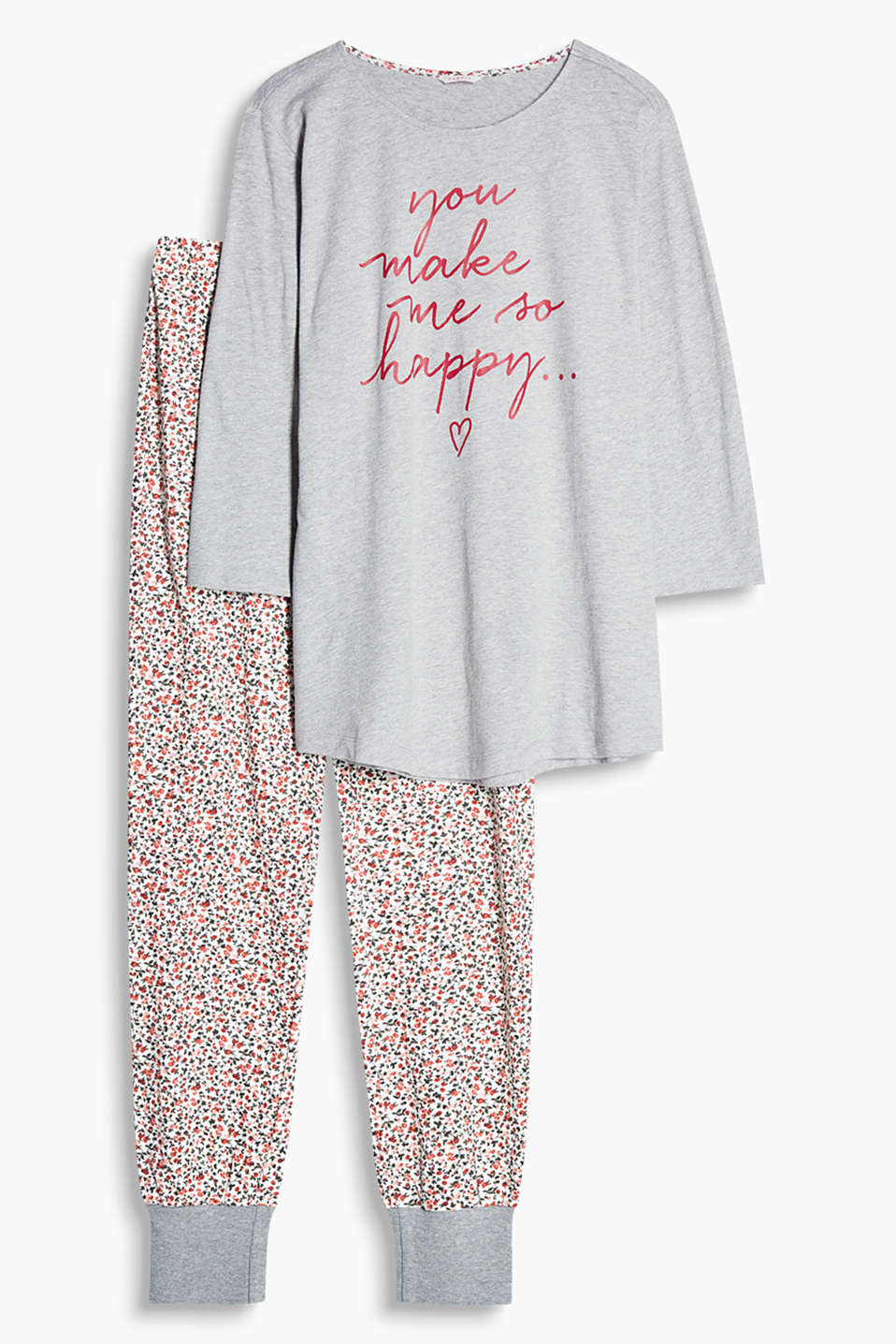 Soft blended cotton pyjama set with a floral and statement print