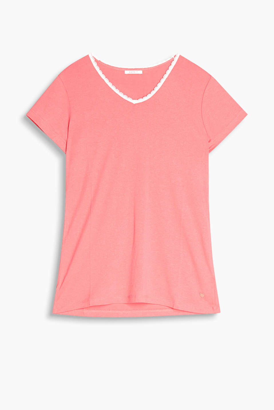 Pyjama top in flowing stretch jersey with lace piping on the V-neckline