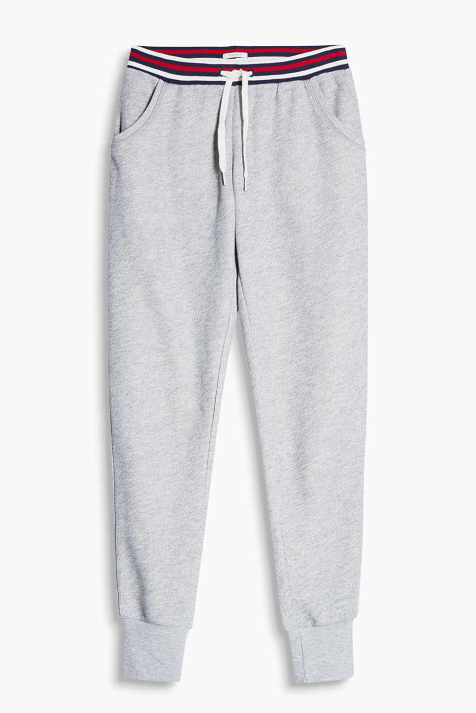 Textured tracksuit bottoms with a striped elasticated waistband