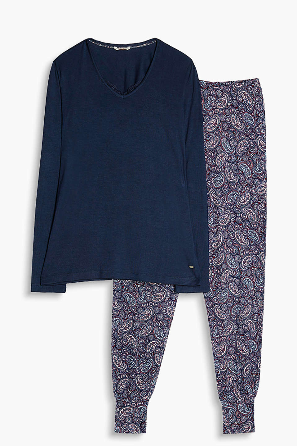 Floaty, stretch jersey pyjamas consisting of a plain, long sleeve top and tracksuit style bottoms with a paisley pattern