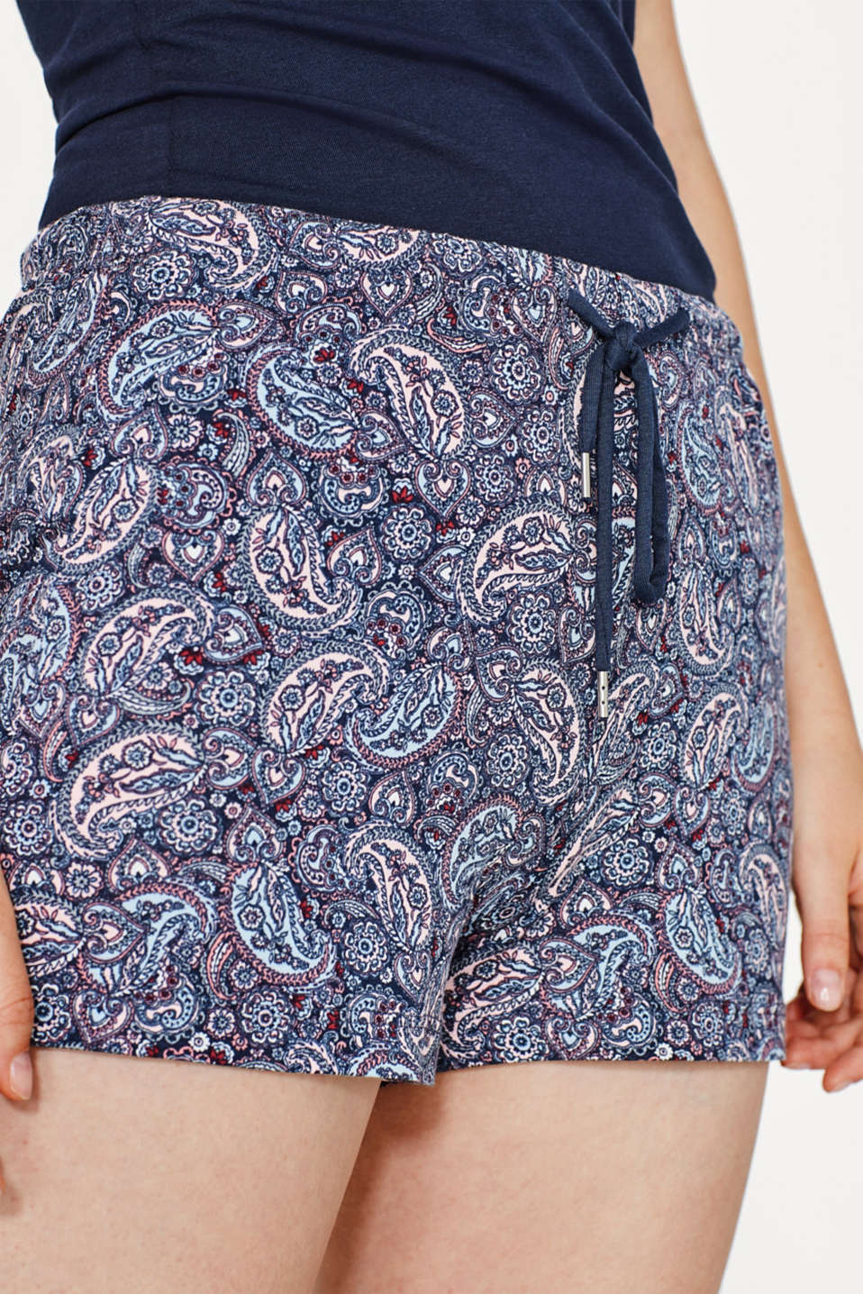 Short van jersey met stretch en paisleyprint