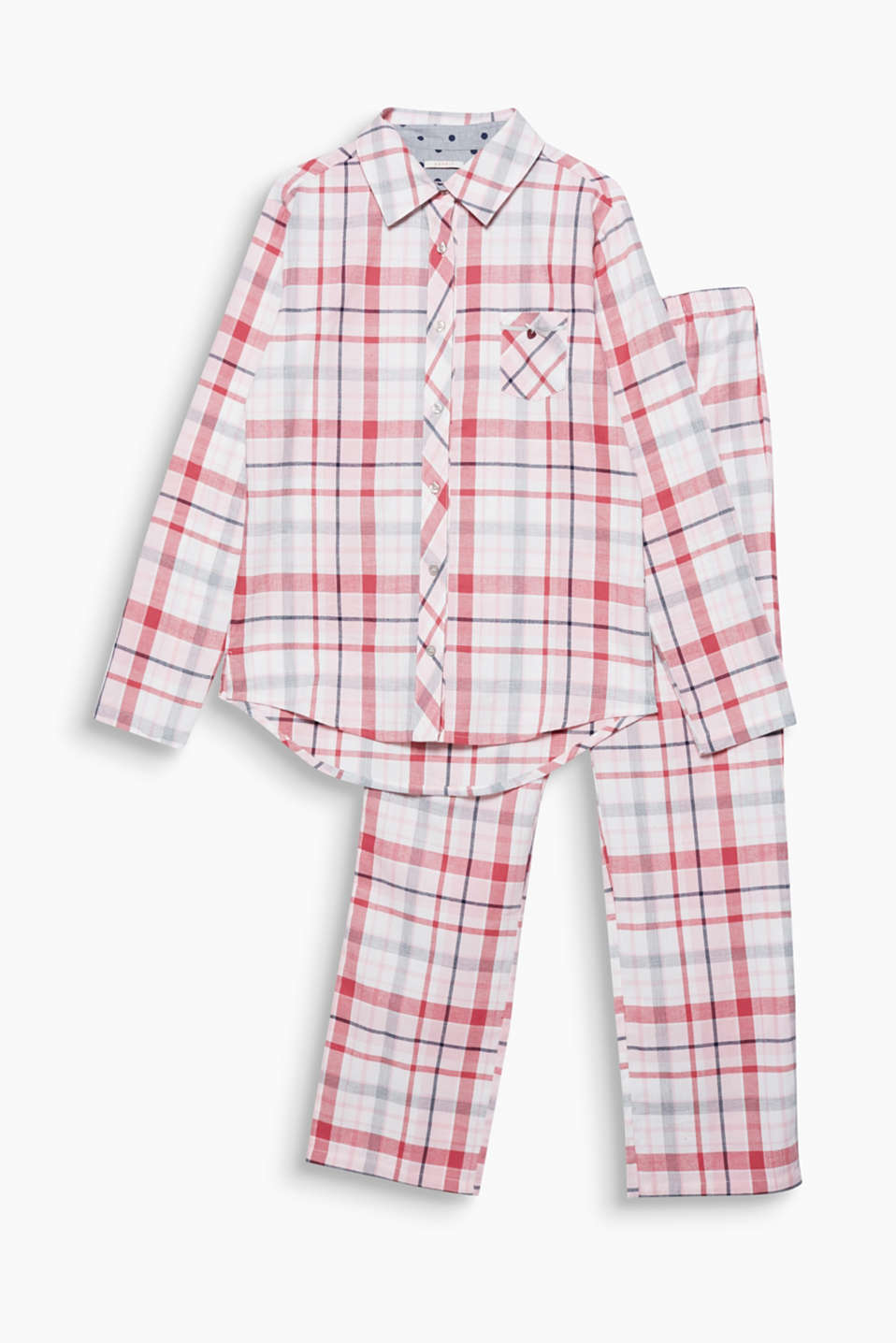 Fine flannel for sweet dreams: checked pyjamas in a boyfriend style with polka dot lining and a breast pocket