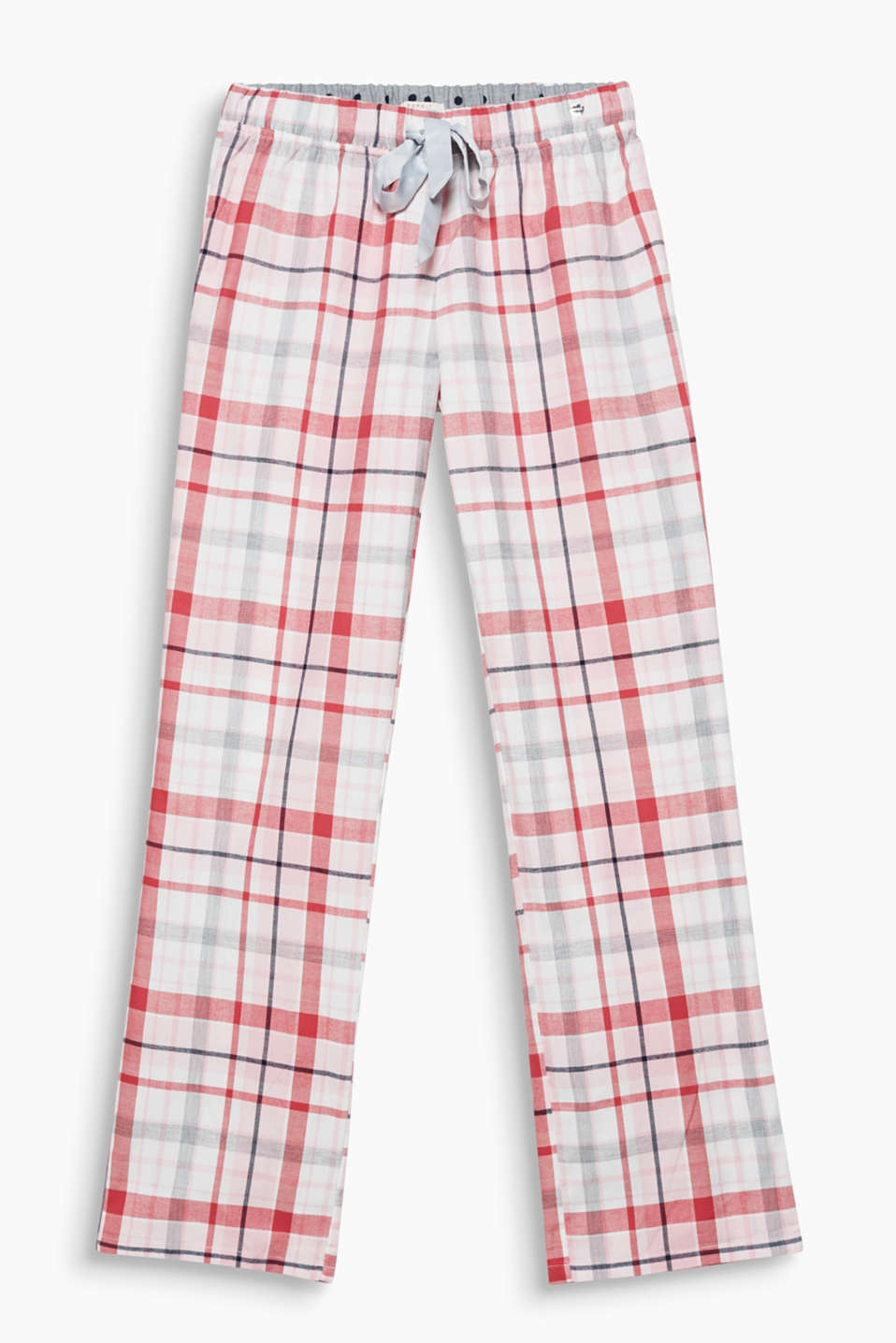 Fine flannel for sweet dreams: check pyjama bottoms with an elasticated waistband and a wide satin ribbon