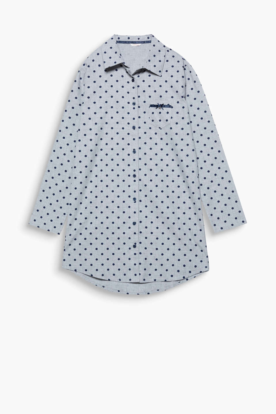 Retro polka dots are just as beguiling by night: nightshirt with a breast pocket and satin detailing
