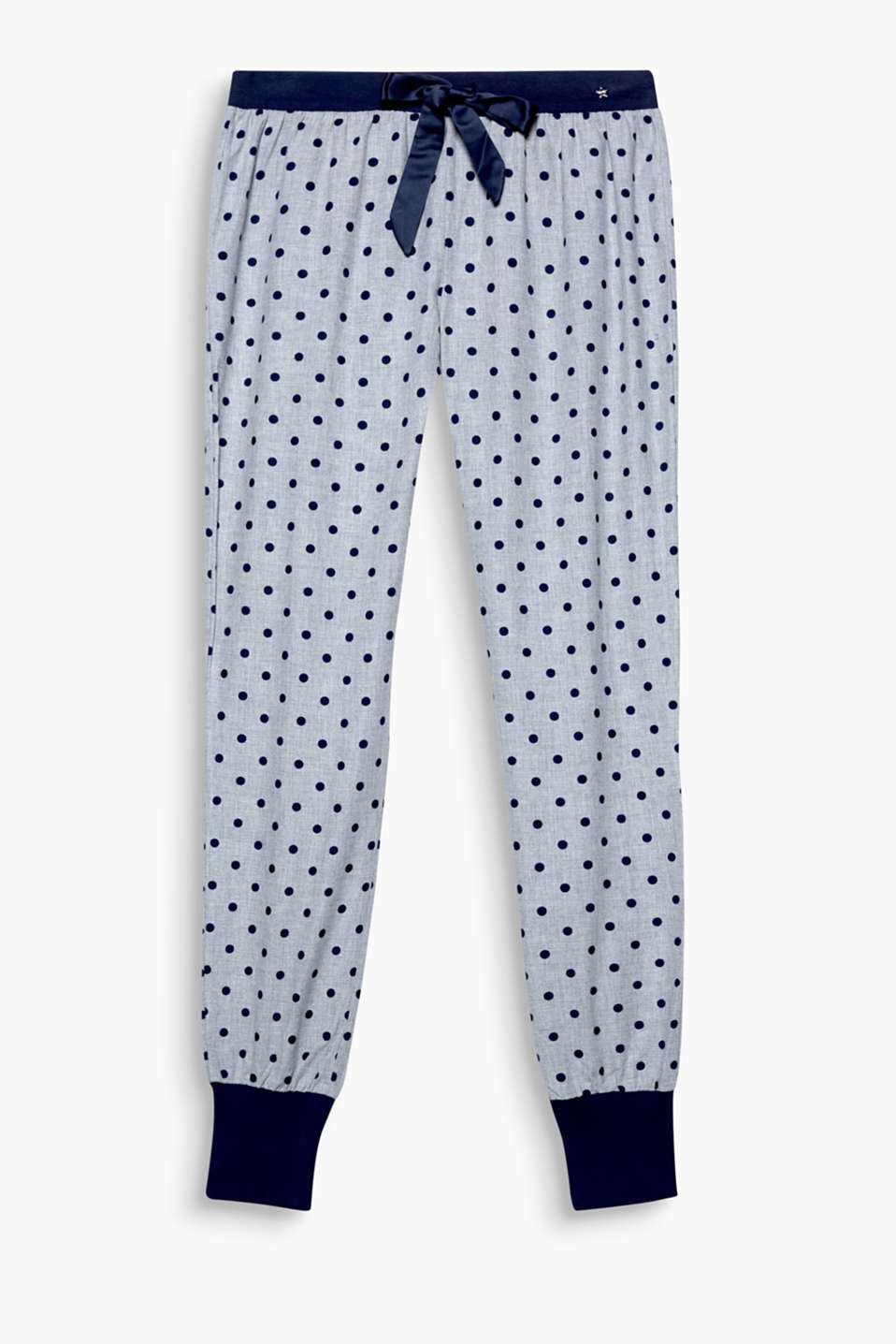 Retro polka dots are equally beguiling by night: pyjama bottoms with an elasticated waistband, satin bow and hem borders