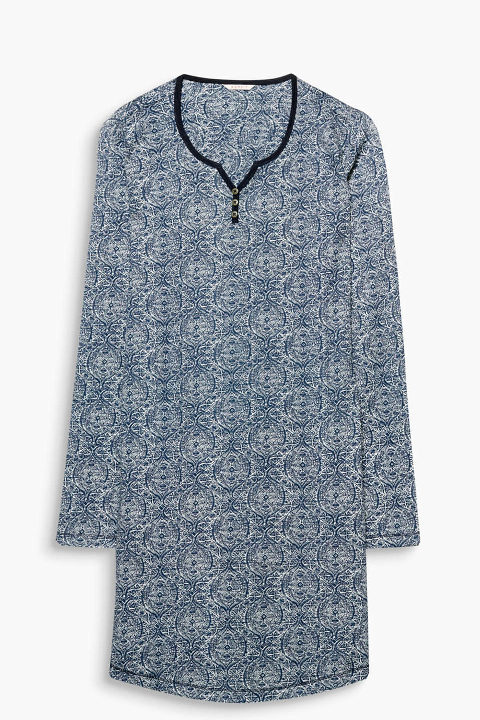 A cool combination: beautiful blue and a decorative print! Cotton-jersey nightshirt with a Henley neckline