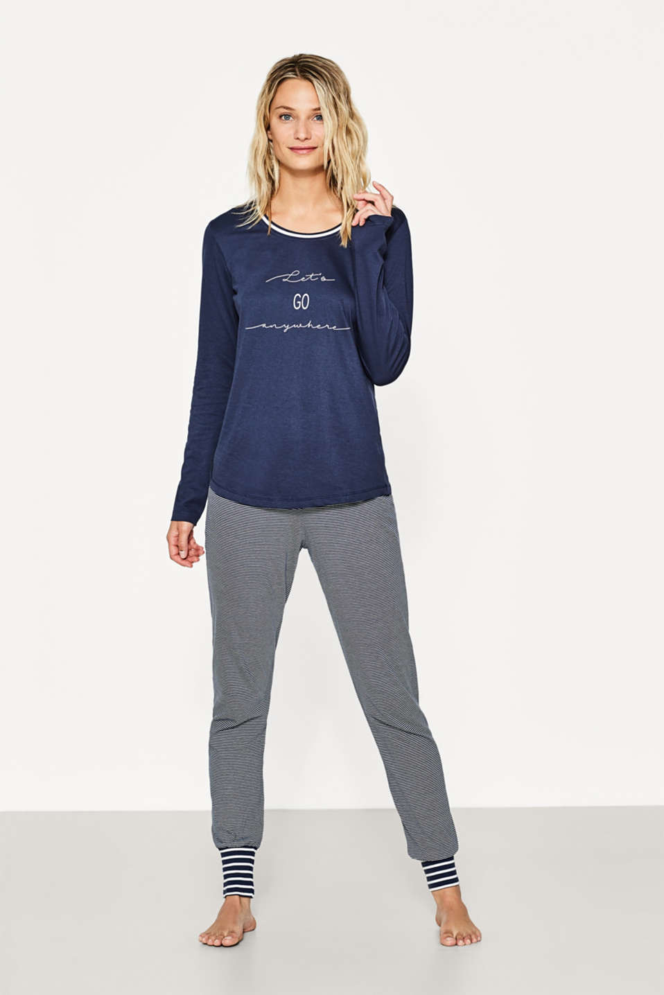 Esprit - Nautical jersey pyjamas, 100% cotton