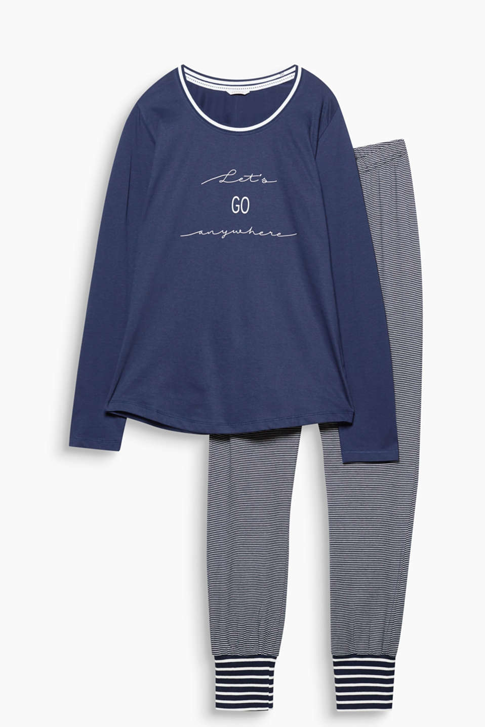 Sail through the night in nautical style: jersey pyjamas consisting of a printed long sleeve top and striped bottoms