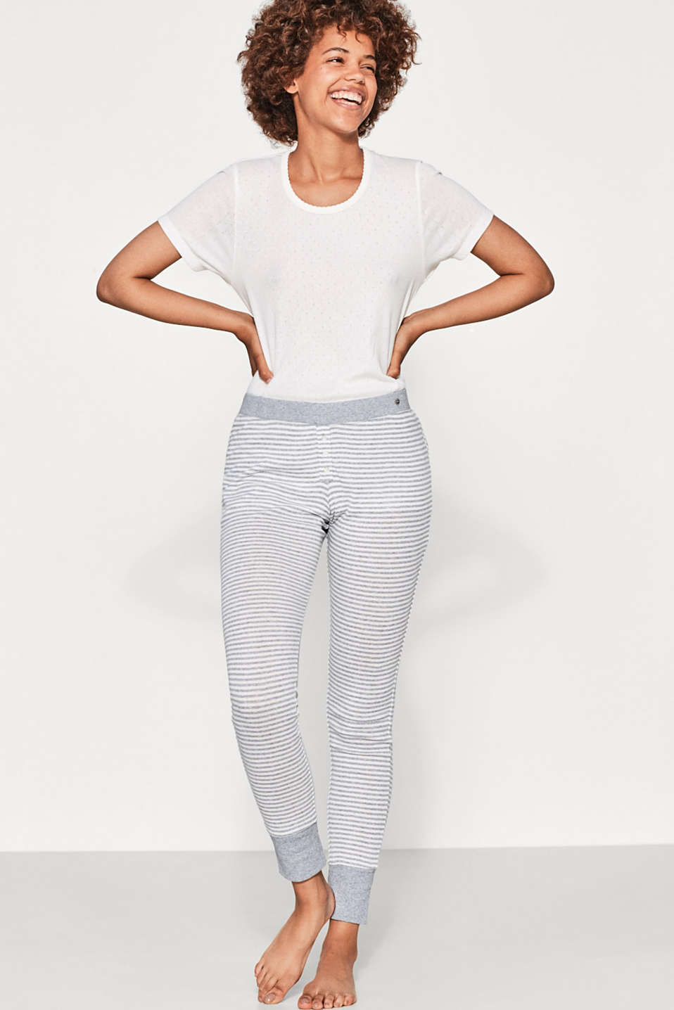Esprit - Striped trousers in 100% cotton