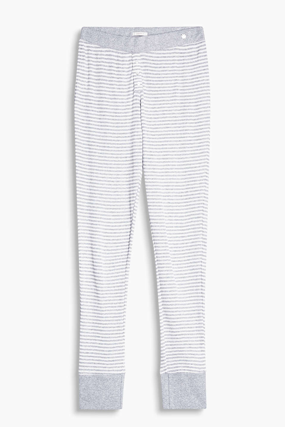 Trousers in pure cotton with a decorative button placket and a wide elasticated waistband
