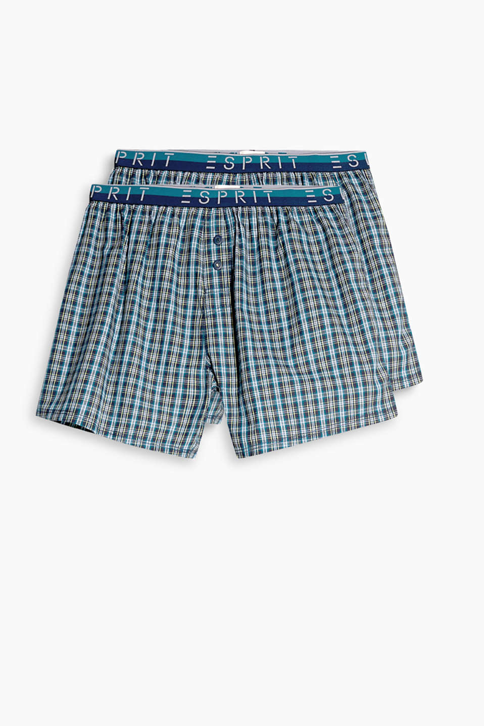 With a stylish glencheck pattern, elasticated waistband and logo label: pure cotton boxer shorts