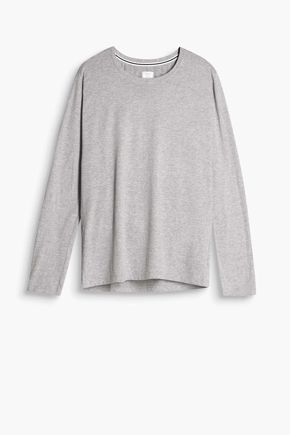 This melange long sleeve blended cotton top works perfectly with Bermudas or trousers and is delightful to wear