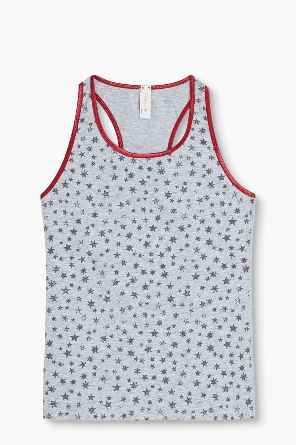 Reach for the stars: The melange jersey sets off the pretty vintage print of this tank top to perfection!