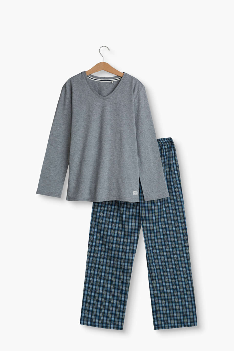 Pyjamas consisting of a melange, cotton blend long sleeve top and cotton bottoms with an elasticated, drawstring waistband