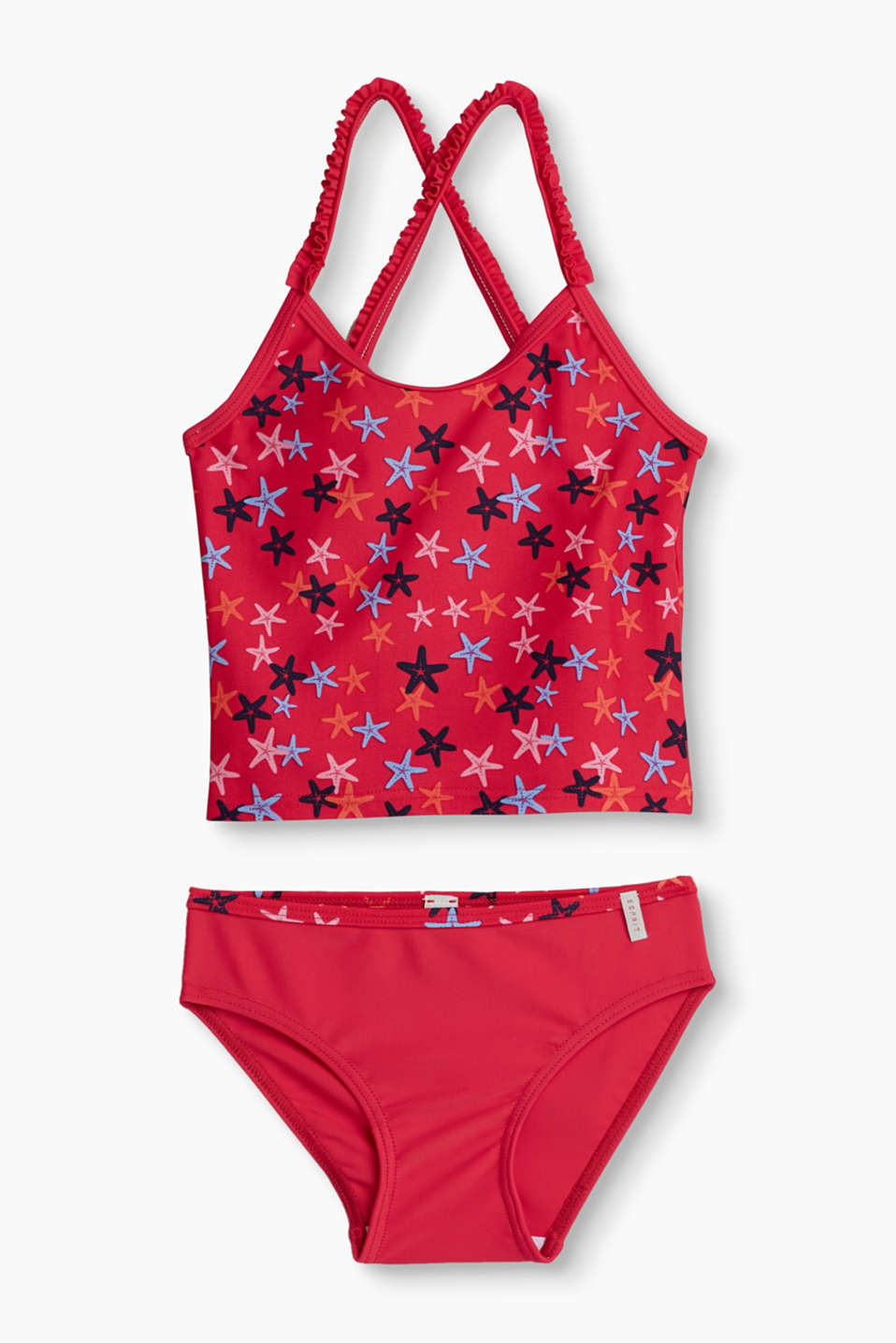 This tankini set with a pretty starfish print and cute frills is just the piece for little bathing beauties