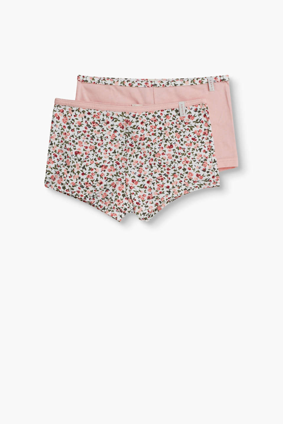 A pretty look, soft and comfortable: hot pants in a practical double pack (plain and with a floral print)
