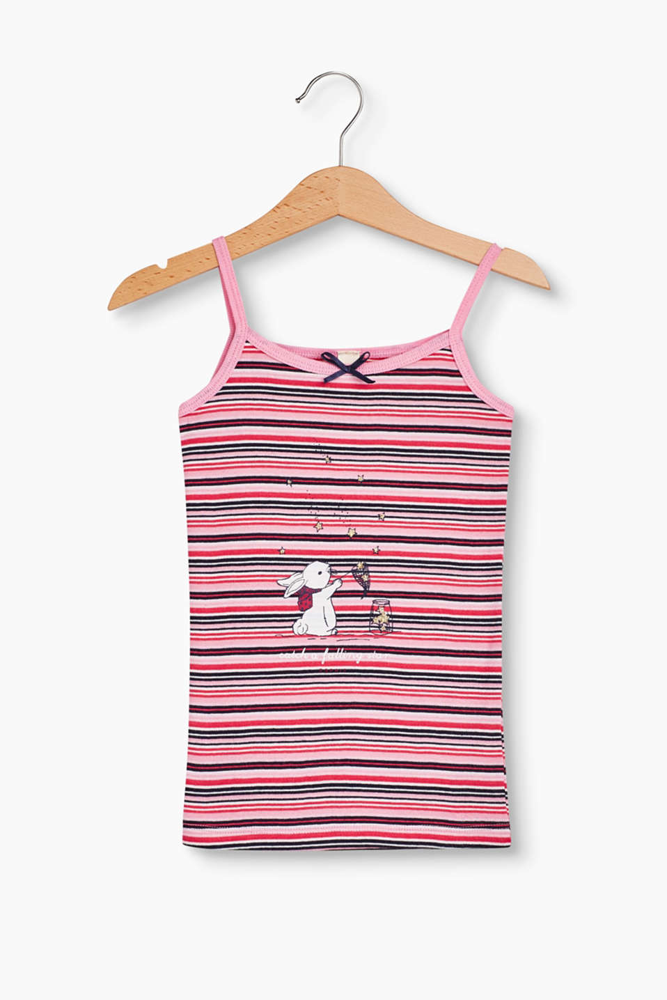 This striped cotton top with a glitter print unites comfort with a cute look