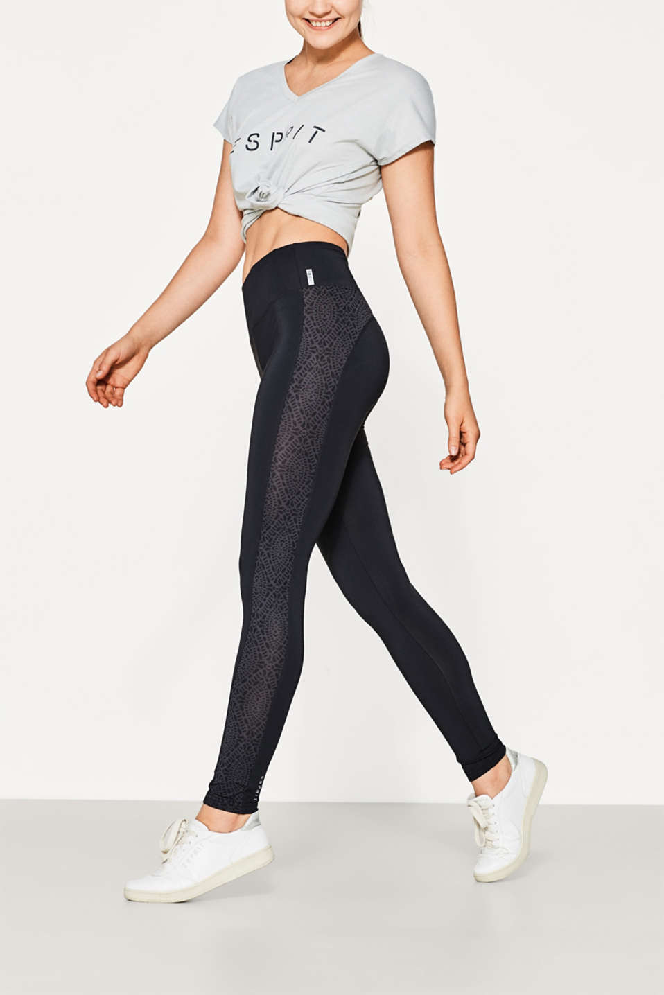 Esprit - Leggings with prints at the sides, E-DRY