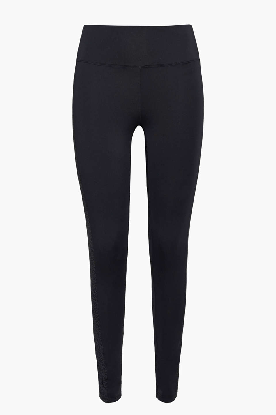 Fashion and practicality: These E-DRY active leggings are sure to turn heads with decorative trims at the sides!