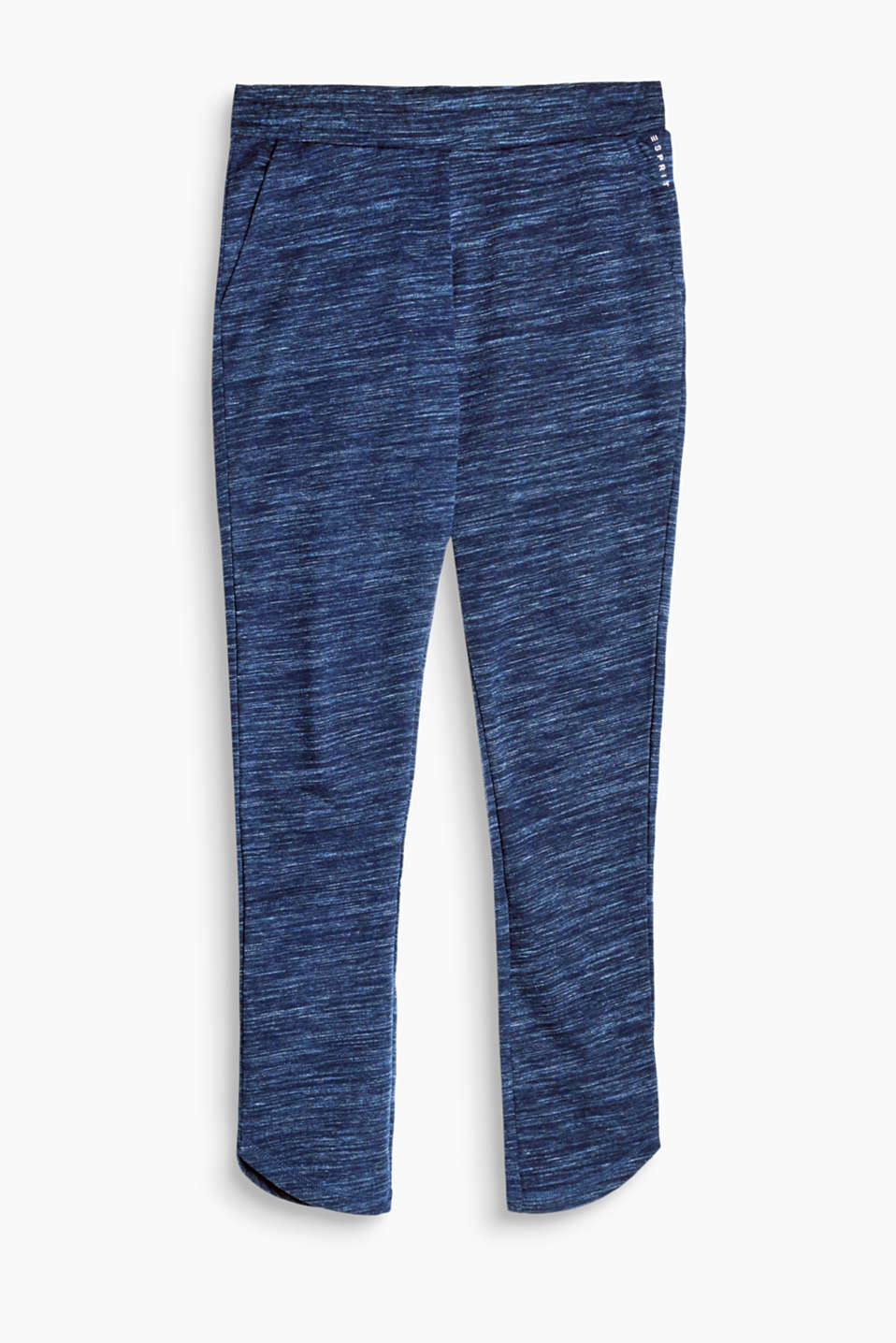 Casual tracksuit bottoms with a wide, elasticated waistband, in soft jersey with a topstitched seat pocket