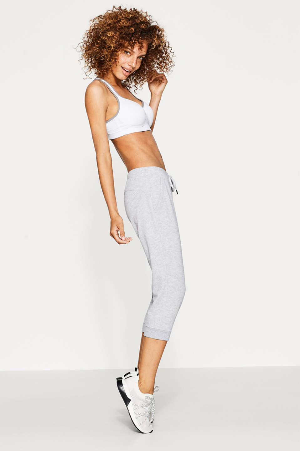 Melange cotton blend tracksuit bottoms