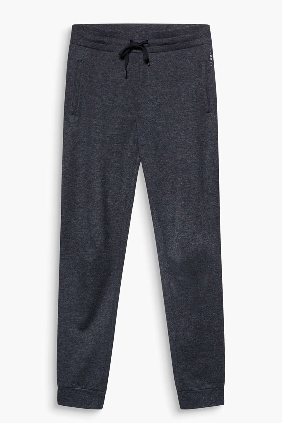 With an elasticated waistband and hem borders: tracksuit bottoms made of firmer melange jersey