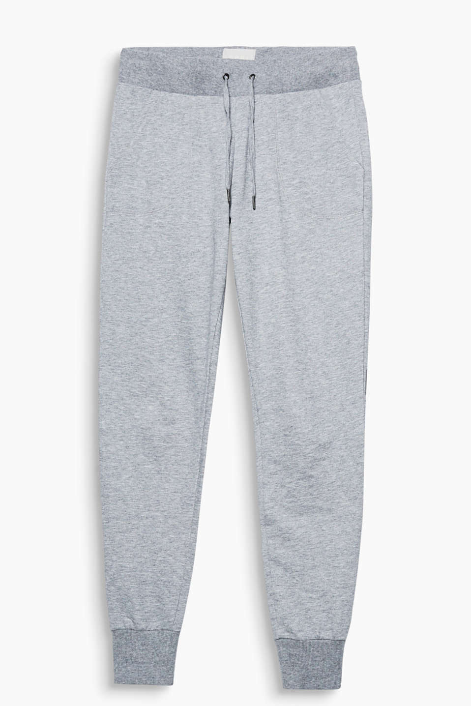 Lightweight, sweatshirt tracksuit bottoms with a tone-in-tone logo print, slit pockets and ribbed borders