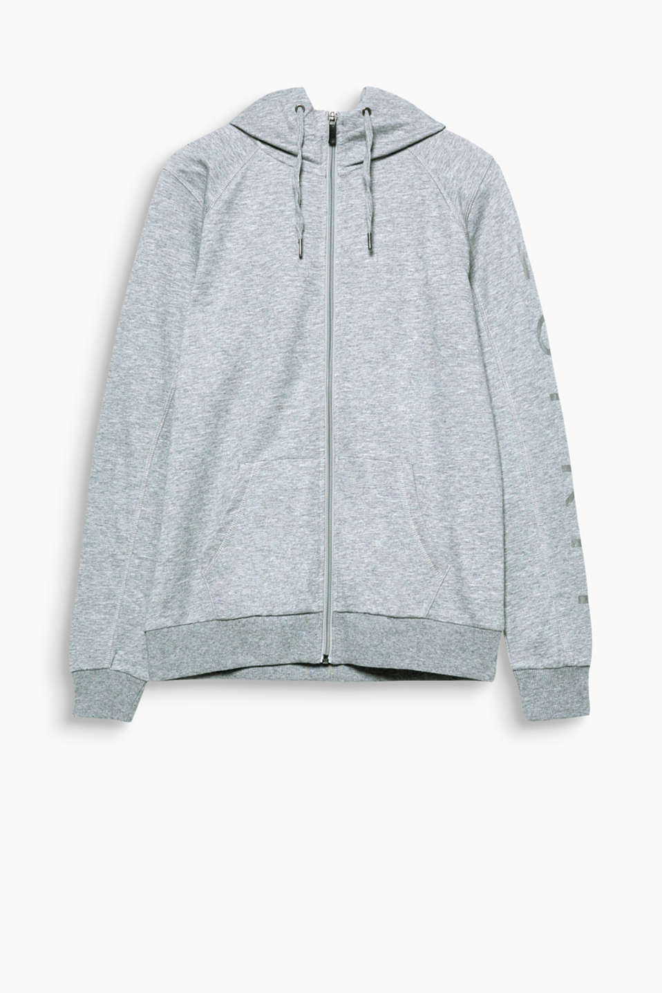 Lightweight sweatshirt cardigan in blended cotton with a tonal logo on the sleeve