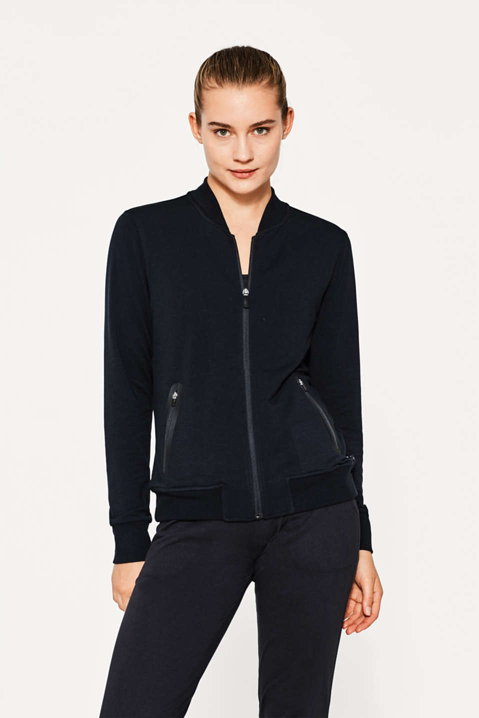 Esprit - Stretch jersey bomber jacket + ribbed cuffs