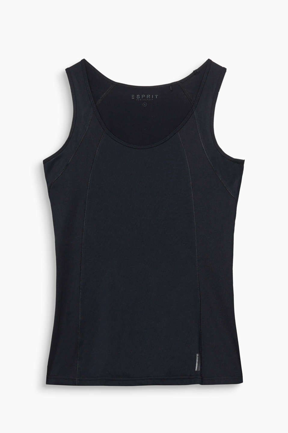 Tailliertes Tank-Top mit Mesh-Details, E-DRY