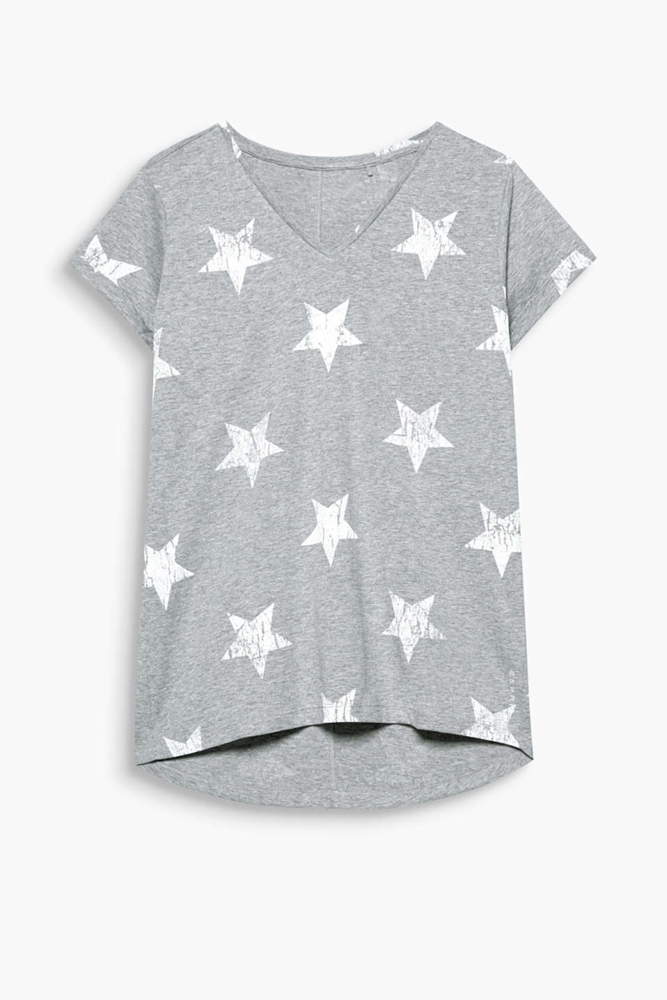 Melange T-shirt with star print, cotton blend