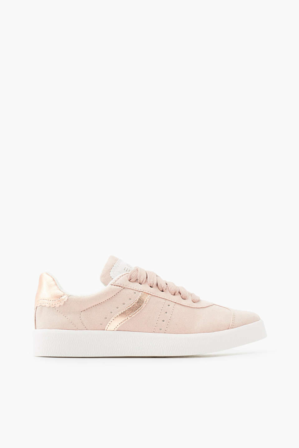 With a rubber sole: lace-up trainers in faux suede