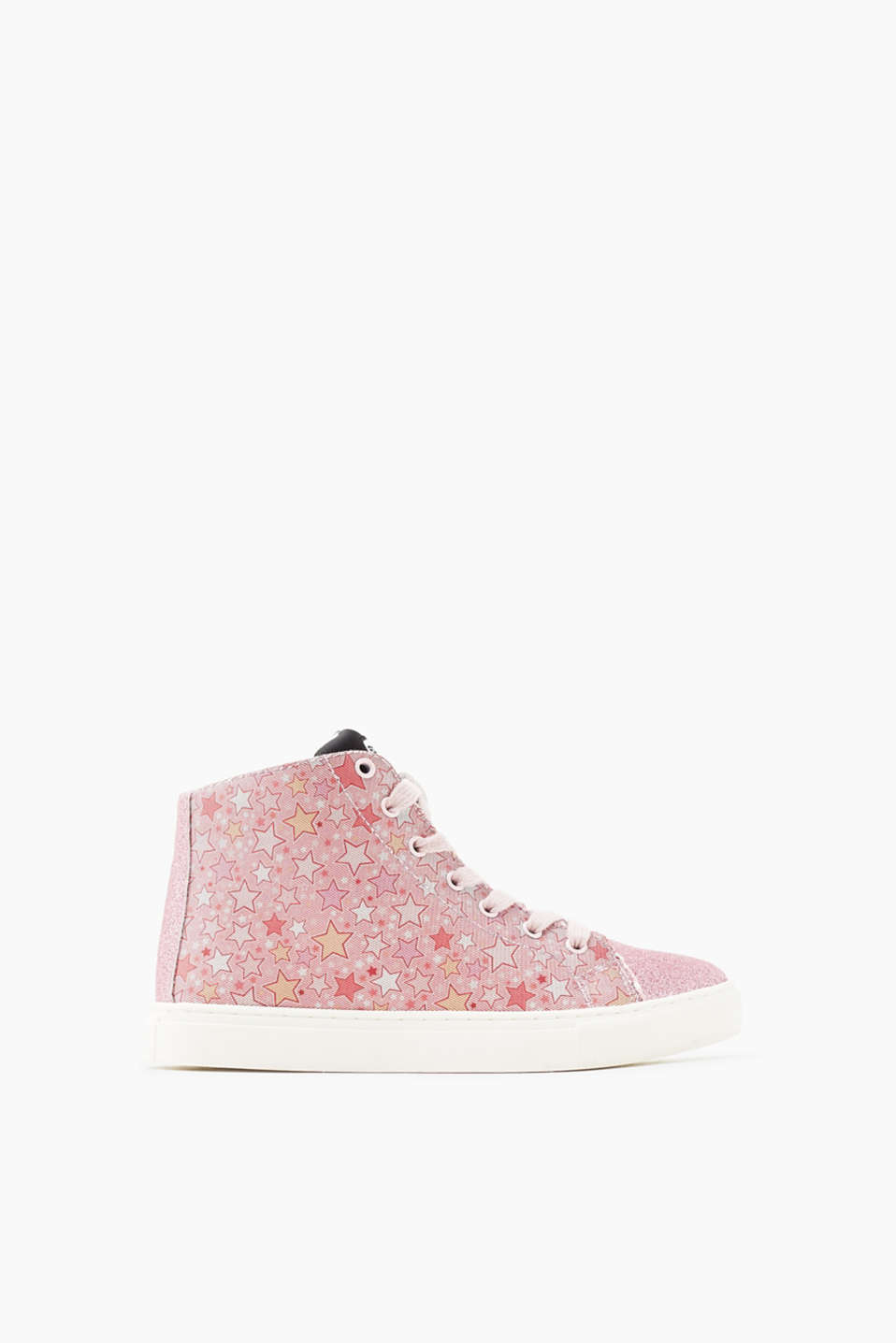 Mit praktischem Innen-Zipper: High Top-Sneaker im glitzernden Stern-Look