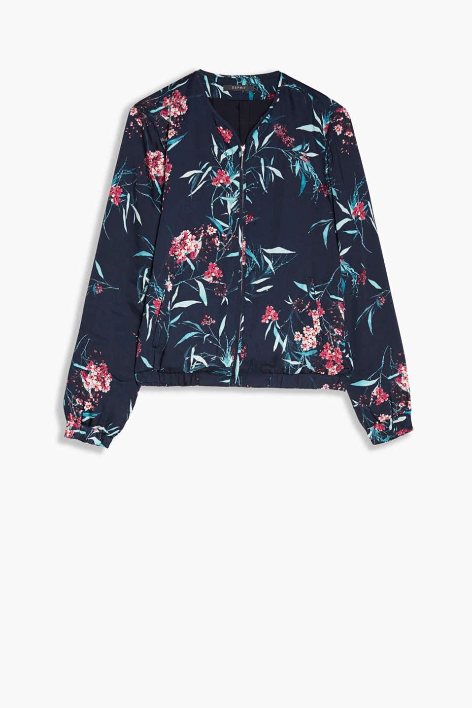 esprit floral bedruckte bomberjacke aus satin im online shop kaufen. Black Bedroom Furniture Sets. Home Design Ideas